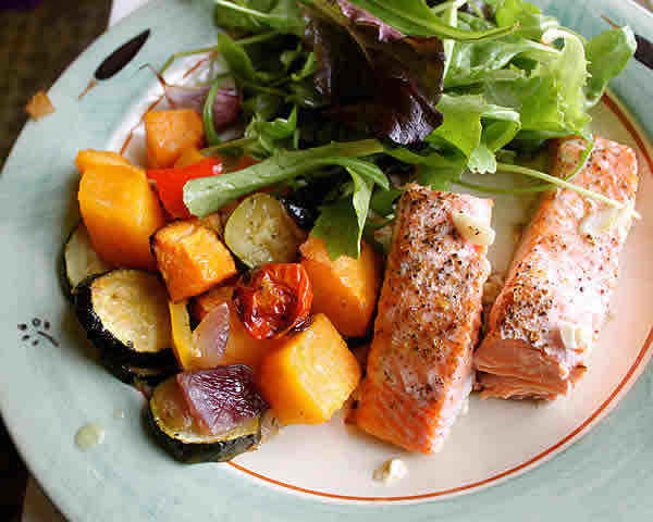 Baked Fish & Vegetables - Really Healthy Foods Really ...