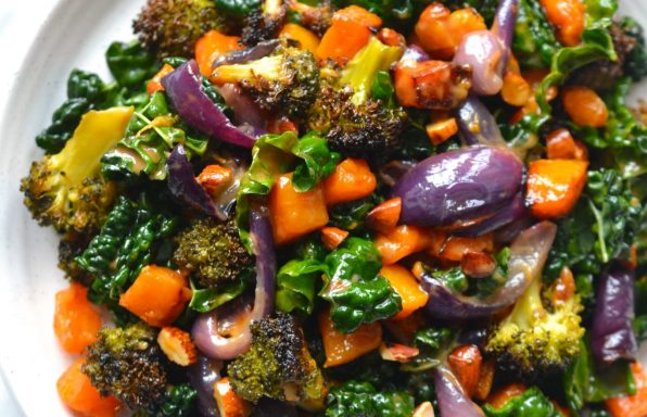 Butternut Squash, Broccoli & Kale Salad with Roasted Garlic Dressing