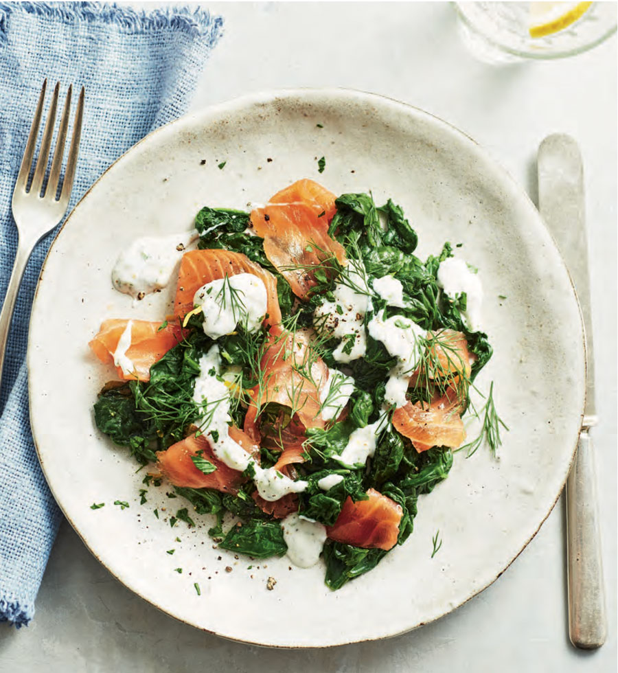 Smoked Salmon Over Spinach with Herbed Coconut Yoghurt